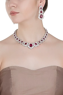 White Gold Finished Faux Ruby Necklace by Aster