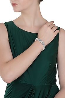 White Gold Finished Tennis Bracelet by Aster
