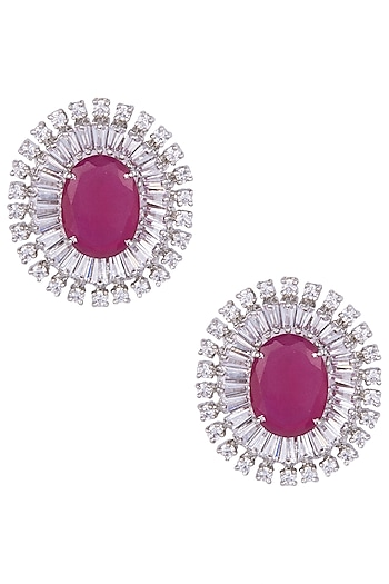 Silver Plated Faux Ruby Stud Earrings by Aster