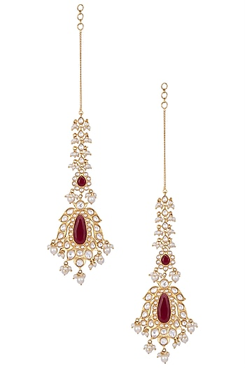 Gold Finished Long Kundan Earrings by Aster