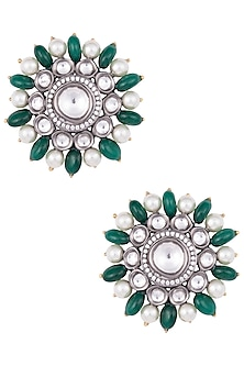 Antique Finished Oversized Kundan Earrings by Aster