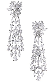 Silver White Zircon Dangler Earrings by Aster