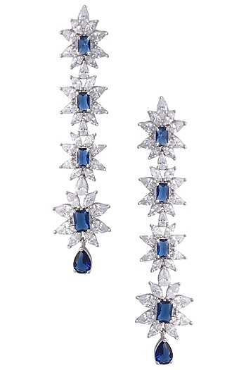 Silver Faux Sapphire and Zircon Earrings by Aster