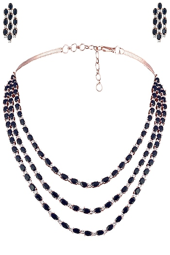 Silver Plated Blue Faux Sapphire 3 Line Necklace Set by Aster