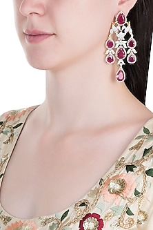 Silver Plated Bird Faux Ruby Floral Dangler Earrings by Aster
