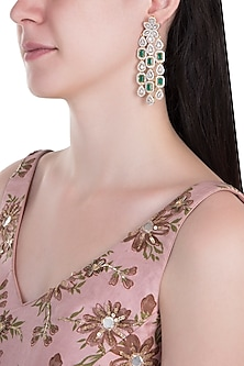 Gold Plated Faux Emerald Dangler Earrings by Aster