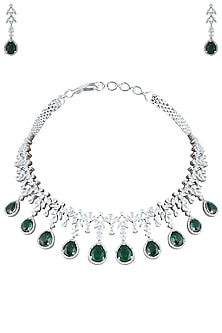 Silver Plated Faux Emerald Necklace by Aster