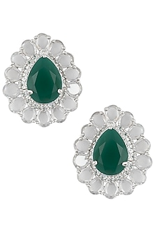Silver Plated Faux Rose Cut Emerald Stud Earrings by Aster