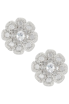 Silver Plated Faux Rose Cut Diamond Stud Earrings by Aster