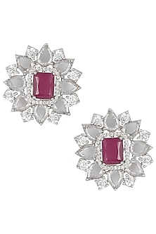 Silver Plated Rose Cut Diamond and Ruby Stud Earrings by Aster