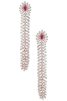 Silver Plated Faux Ruby and Diamond Baguette Dangler Earrings by Aster