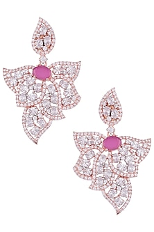 Rose Gold Plated Faux Diamond and Ruby Leaf Earrings by Aster