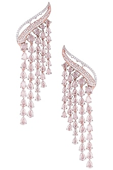 Silver Plated Faux Diamond and Rose Cut Stone Waterfall Earrings by Aster