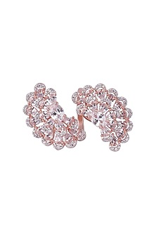 Silver Plated Faux Diamond Flower Ring by Aster