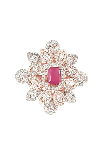 Rose Gold Plated Faux Ruby and Diamond Ring by Aster