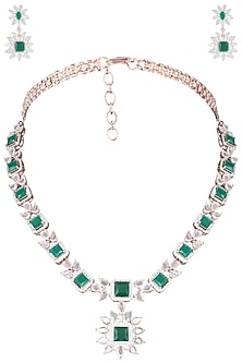 Silver Plated Faux Emerald and Rose Cut Stone Necklace Set by Aster