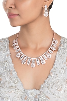 Silver Plated Faux Diamond Flare Necklace Set by Aster