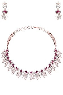 Rose Gold Plated Faux Ruby and Diamond Floral Necklace Set by Aster