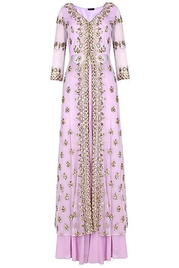 Lavender Sequins Embellished Sharara Set by Astha Narang