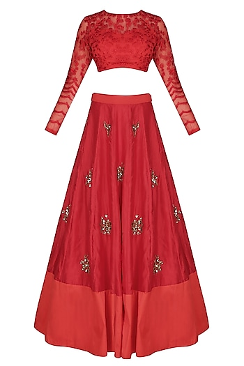 Red Pearl And Sequins Flower Motifs Lehenga Set by Astha Narang