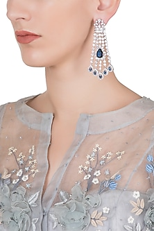 Silver plated diamond and sapphire dangler earrings by Aster