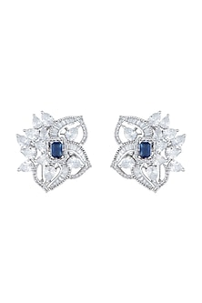 Silver plated diamond stud earrings by Aster