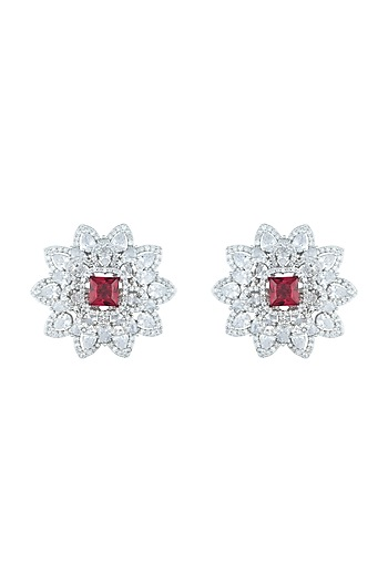 Silver plated diamond and ruby stud earrings by Aster