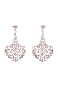 Silver plated faux diamond long earrings by Aster
