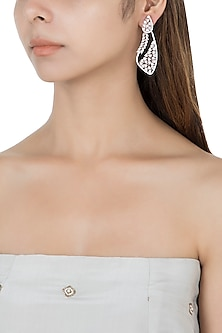 Silver plated faux diamond and long dangler earrings by Aster