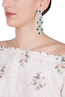 Silver plated diamond and emerald long earrings by Aster