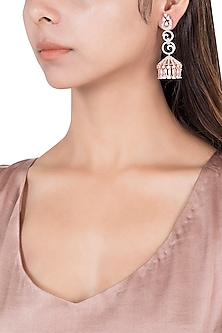 Silver plated faux diamond cage earrings by Aster