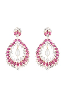 Silver plated diamond and ruby dangler earrings by Aster