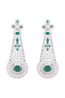 Silver plated faux diamond and emerald long earrings by Aster
