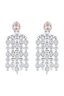 White Rhodium Plated Faux Diamond Chandelier Earrings by Aster