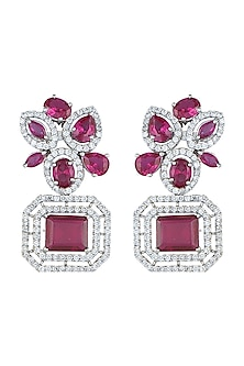 White Rhodium Plated Faux Diamond & Ruby Earrings by Aster