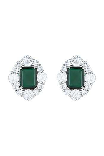 White Rhodium Plated Faux Emerald & Diamond Earrings by Aster