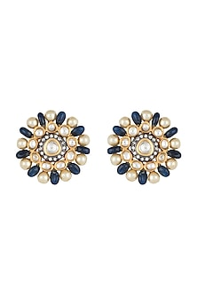 Yellow Rhodium Plated Faux Polki & Pearls Earrings by Aster