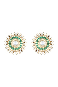Yellow Rhodium Plated Faux Polki & Emerald Stud Earrings by Aster