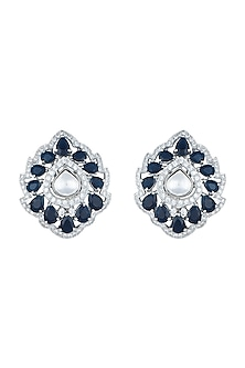 White Rhodium Plated Faux Polki & Sapphire Stud Earrings by Aster