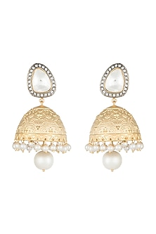 Yellow Rhodium Plated Faux Polki Jhumka Earrings by Aster