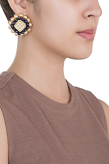 Yellow Rhodium Plated Faux Polki & Sapphire Bead Earrings by Aster