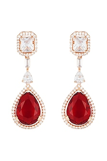 Rose Gold Rhodium Plated Faux Diamond and Ruby Earrings by Aster