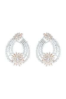 White Rhodium Plated Faux Diamond Earrings by Aster