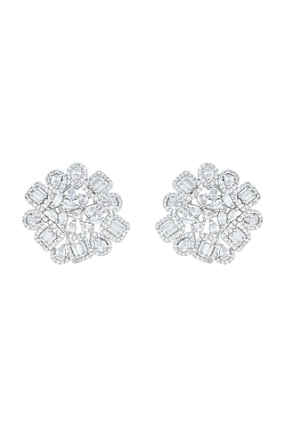 White Rhodium Plated Faux Diamond Stud Earrings by Aster