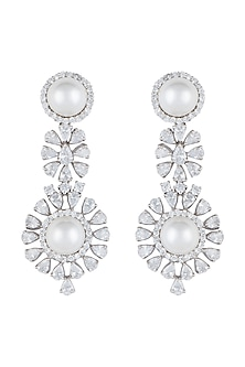 White Rhodium Plated Faux Diamond & Pearl Earrings by Aster