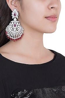 White Rhodium Plated Faux Diamond & Ruby Traditional Earrings by Aster
