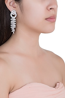 White Rhodium Plated Baguette Earrings by Aster