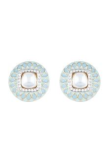 Yellow Rhodium Plated Faux Polki & Enamel Stud Earrings by Aster