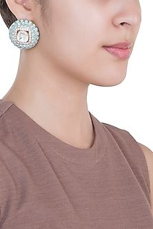 Yellow Rhodium Plated Faux Polki & Enamel Stud Earrings by Aster