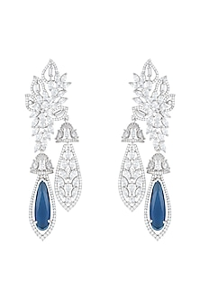 Silver Plated Faux Diamond & Sapphire Earrings by Aster